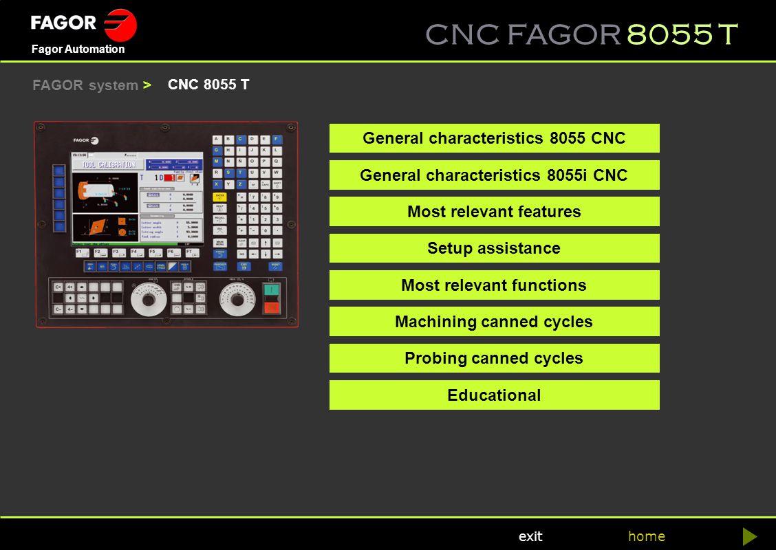 General characteristics 8055 CNC