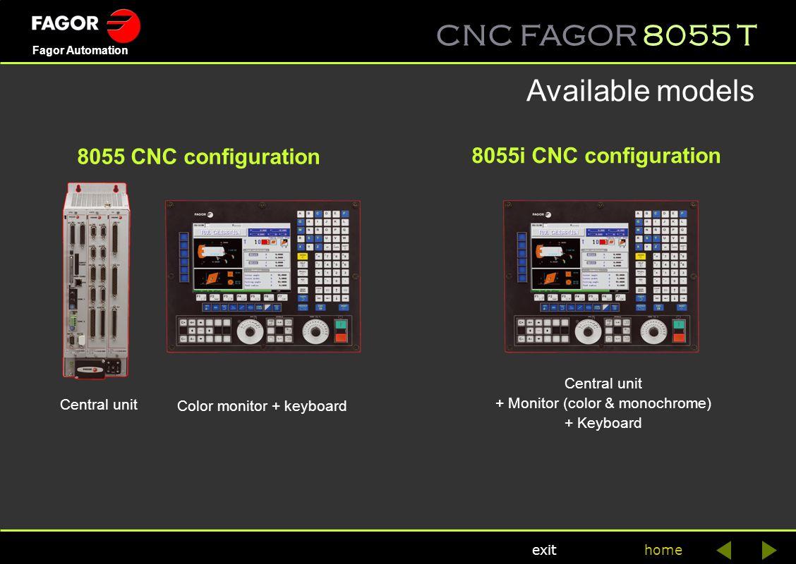 Available models 8055 CNC configuration 8055i CNC configuration