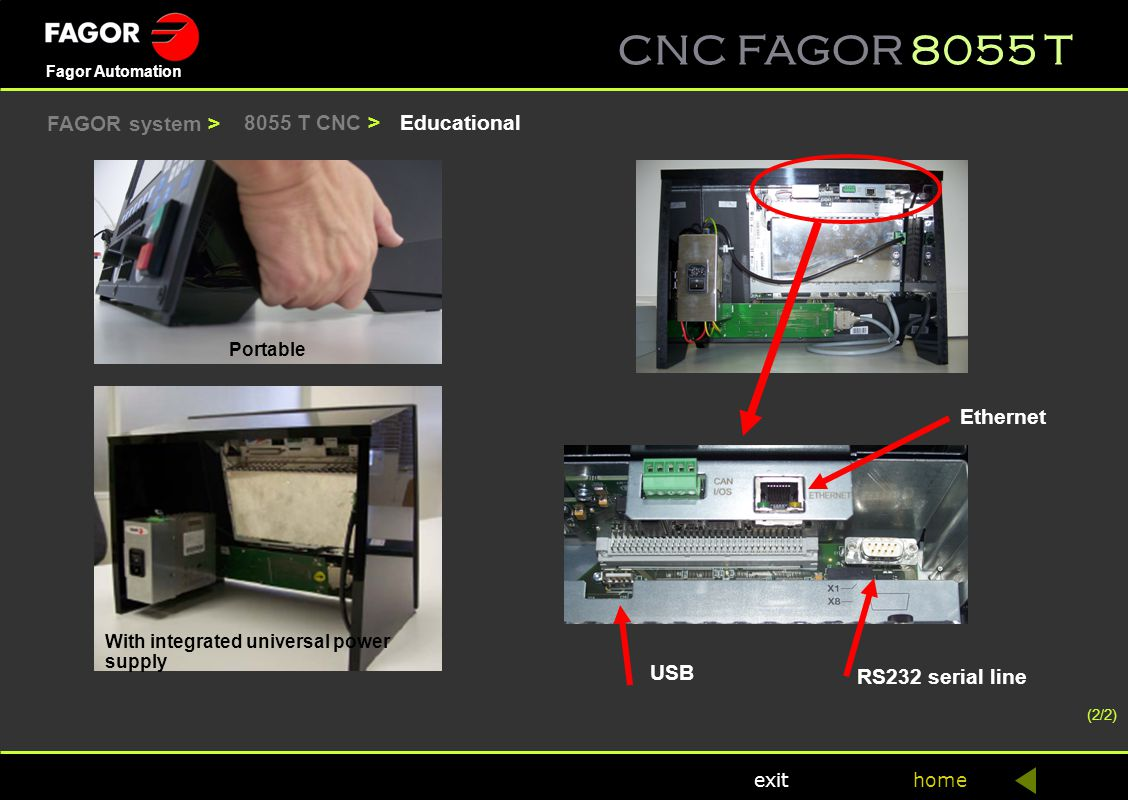 FAGOR system > 8055 T CNC > Educational Ethernet USB
