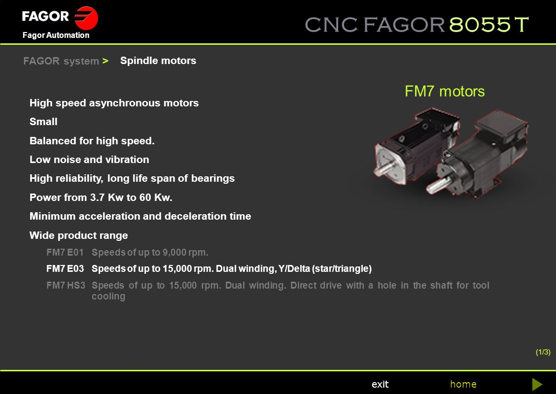 FM7 motors FAGOR system > Spindle motors