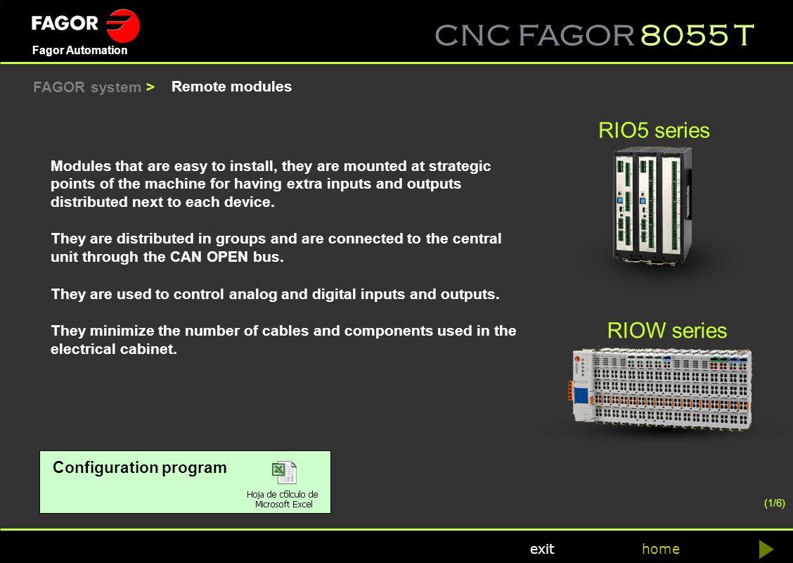 RIO5 series RIOW series Configuration program FAGOR system >
