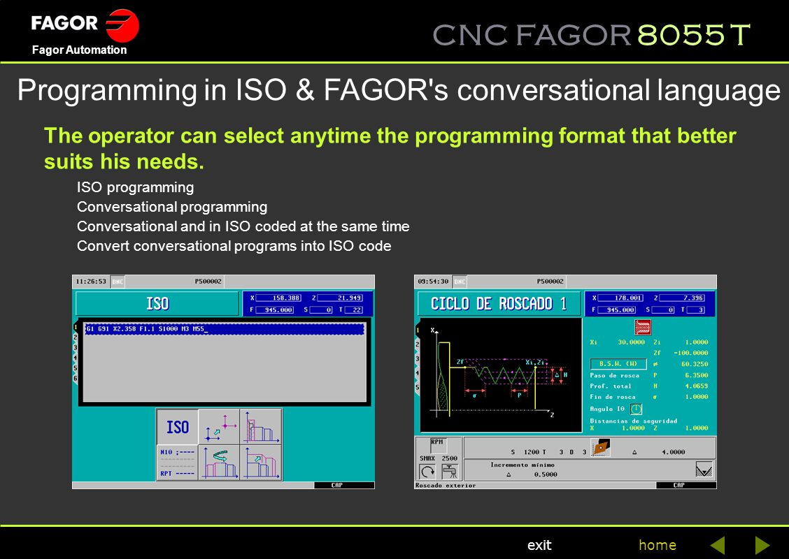 Programming in ISO & FAGOR s conversational language