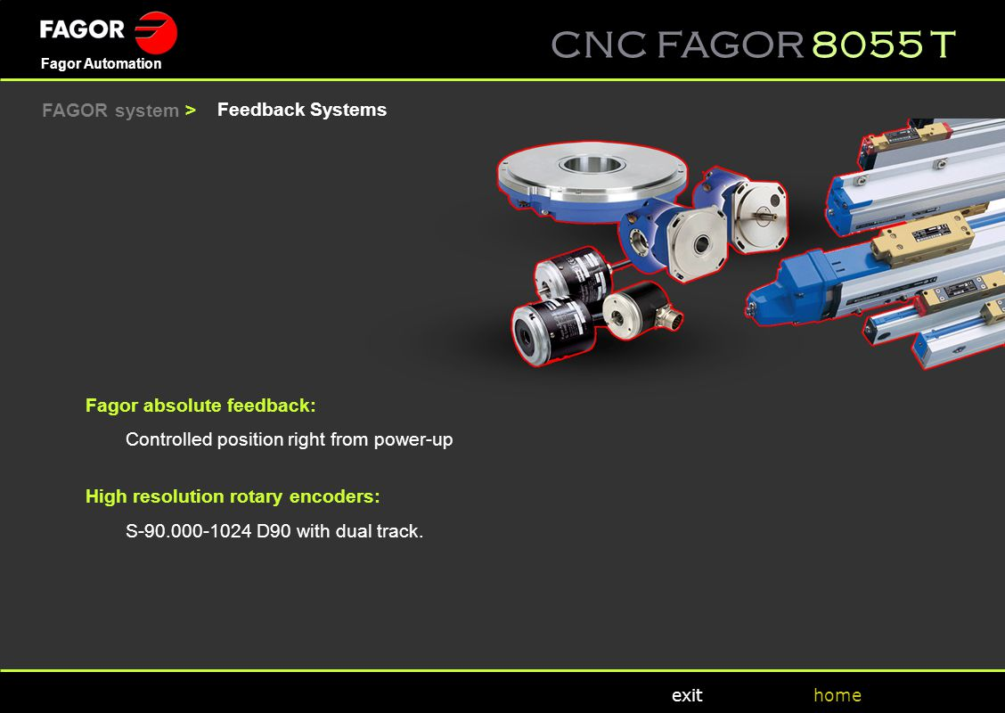 FAGOR system > Feedback Systems. Fagor absolute feedback: Controlled position right from power-up.