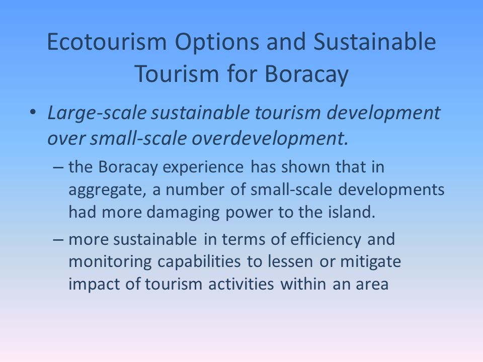 Ecotourism Options and Sustainable Tourism for Boracay