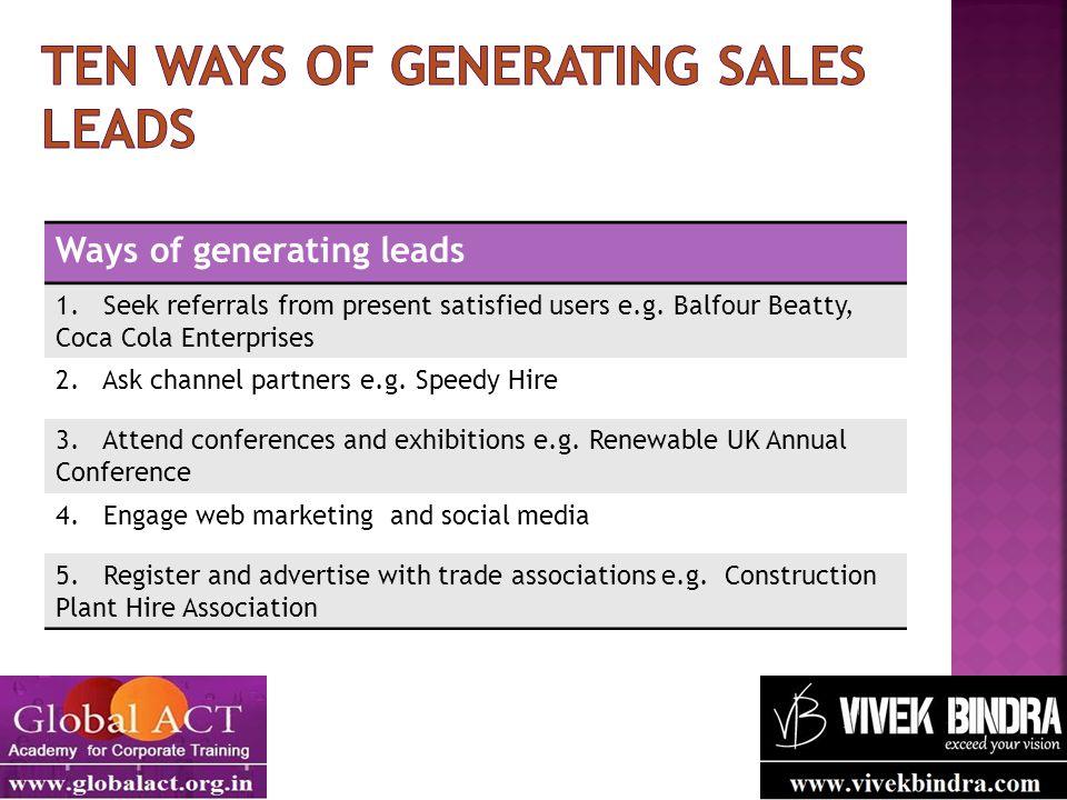 Ten ways of generating sales leads