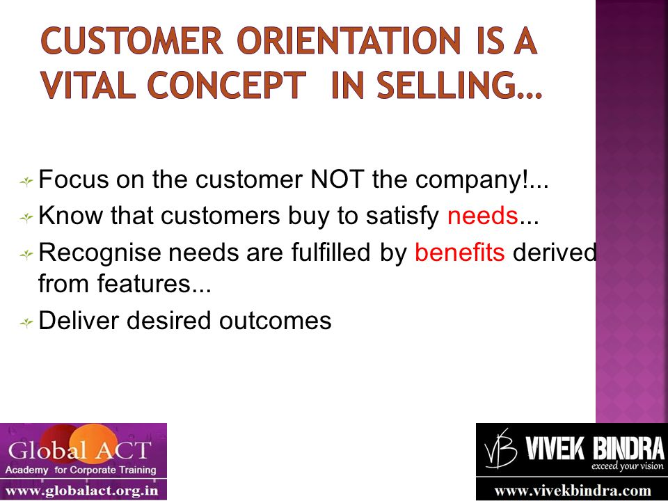 Customer orientation is a vital concept in selling…