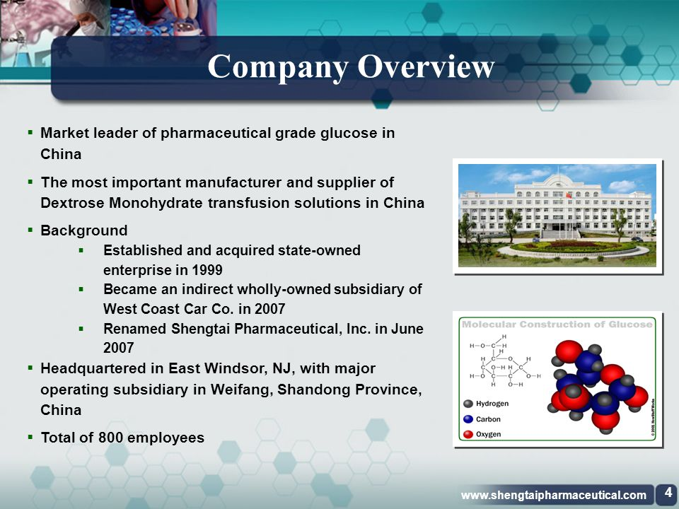Company Overview Market leader of pharmaceutical grade glucose in China.