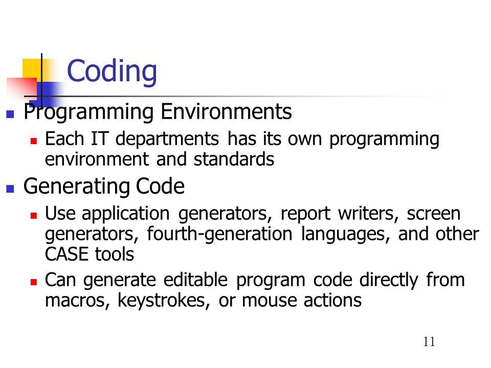 Coding Programming Environments Generating Code