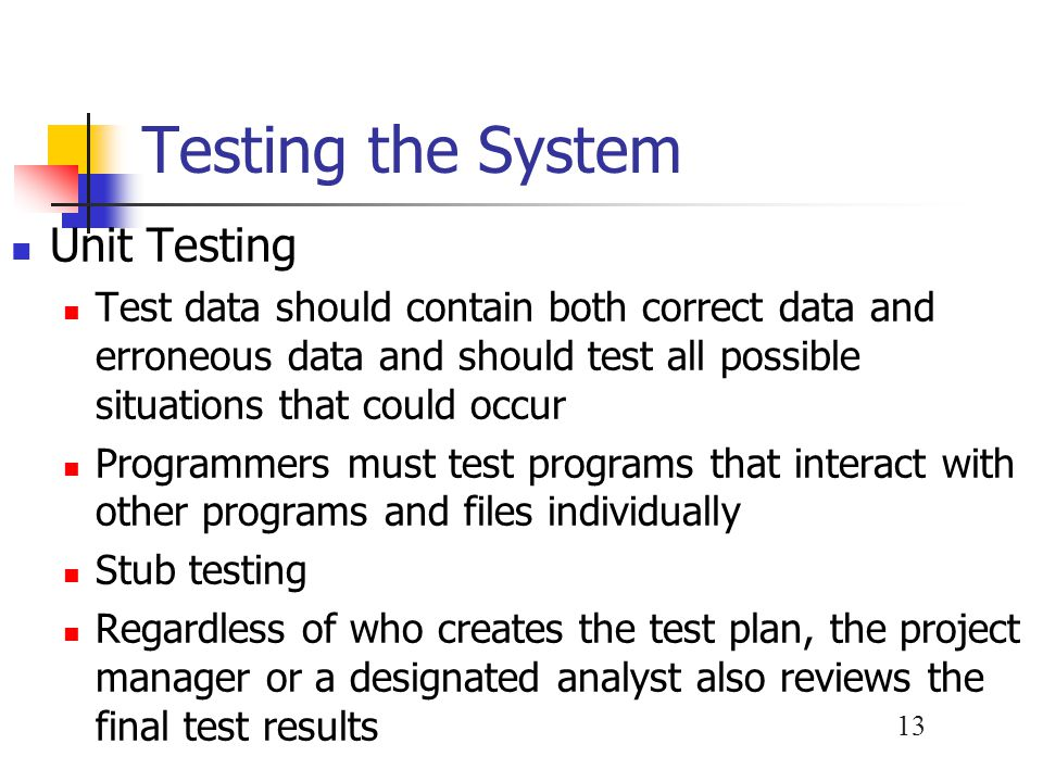 Testing the System Unit Testing
