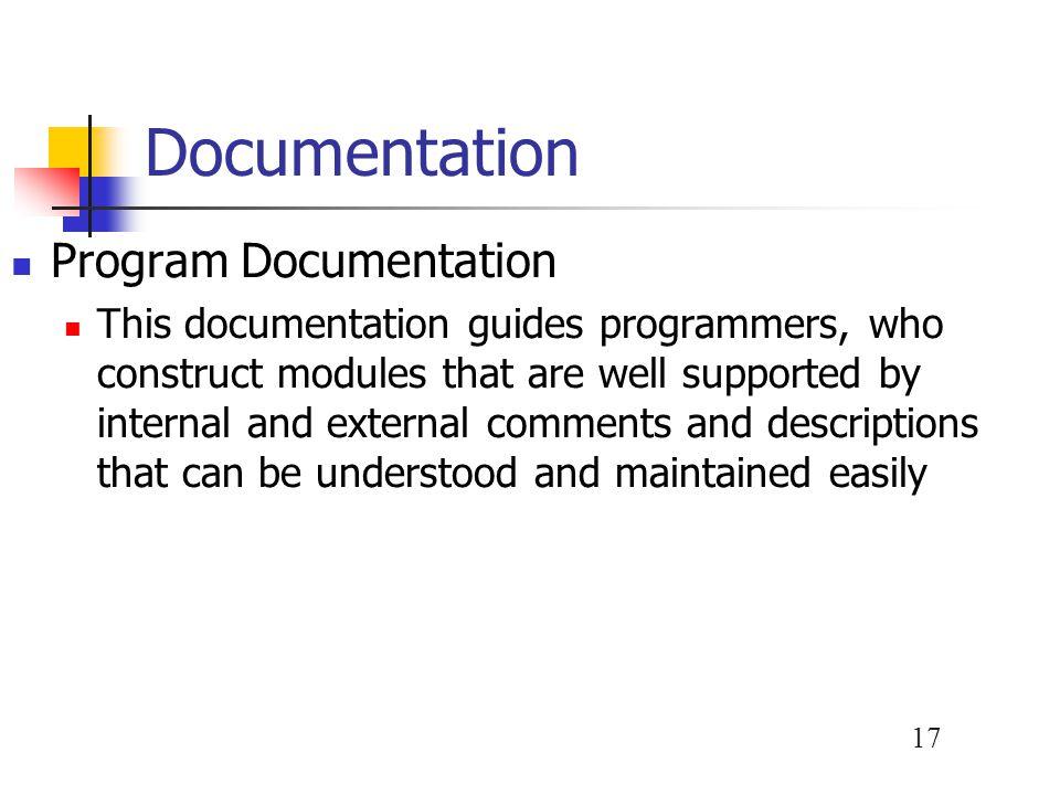 Documentation Program Documentation