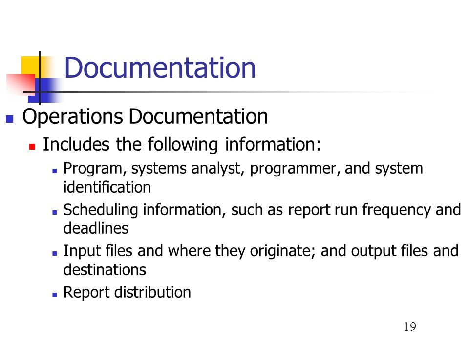Documentation Operations Documentation