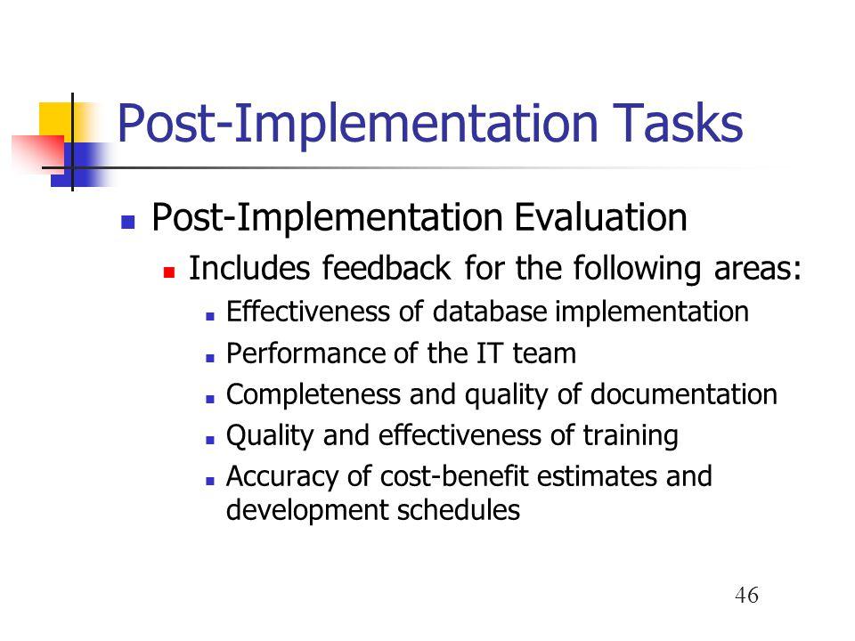 Post-Implementation Tasks