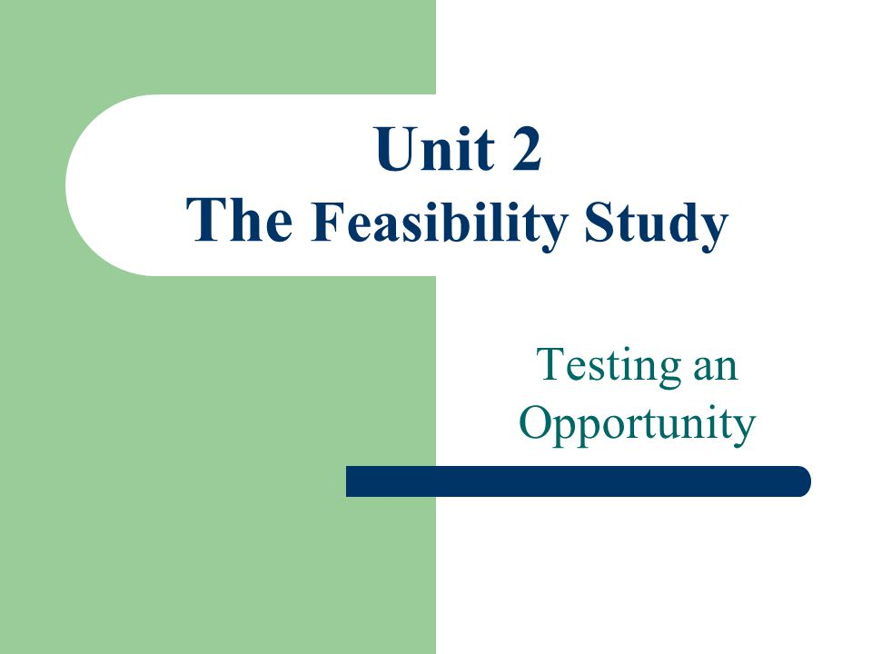 Unit 2 The Feasibility Study
