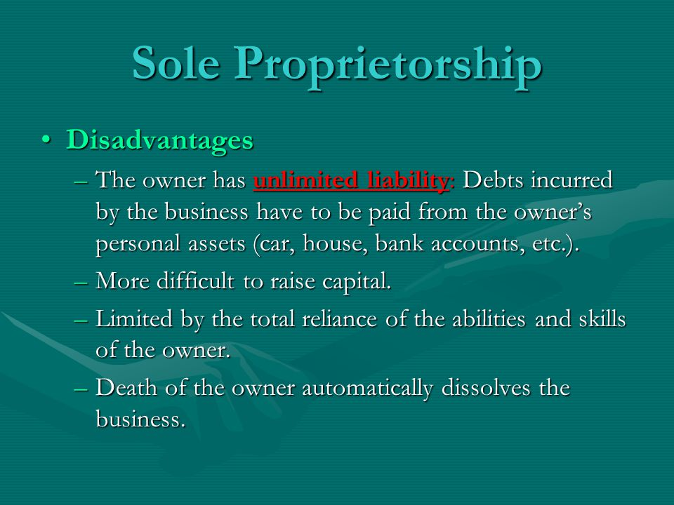 Sole Proprietorship Disadvantages