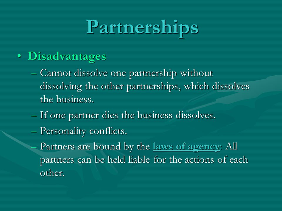 Partnerships Disadvantages