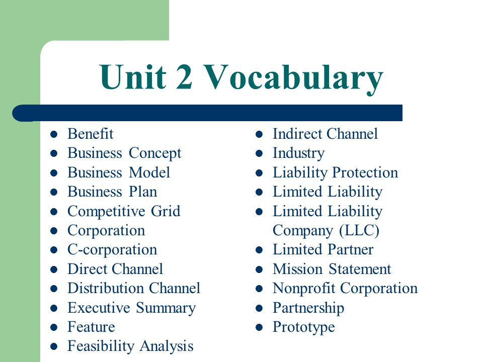 Unit 2 Vocabulary Benefit Business Concept Business Model