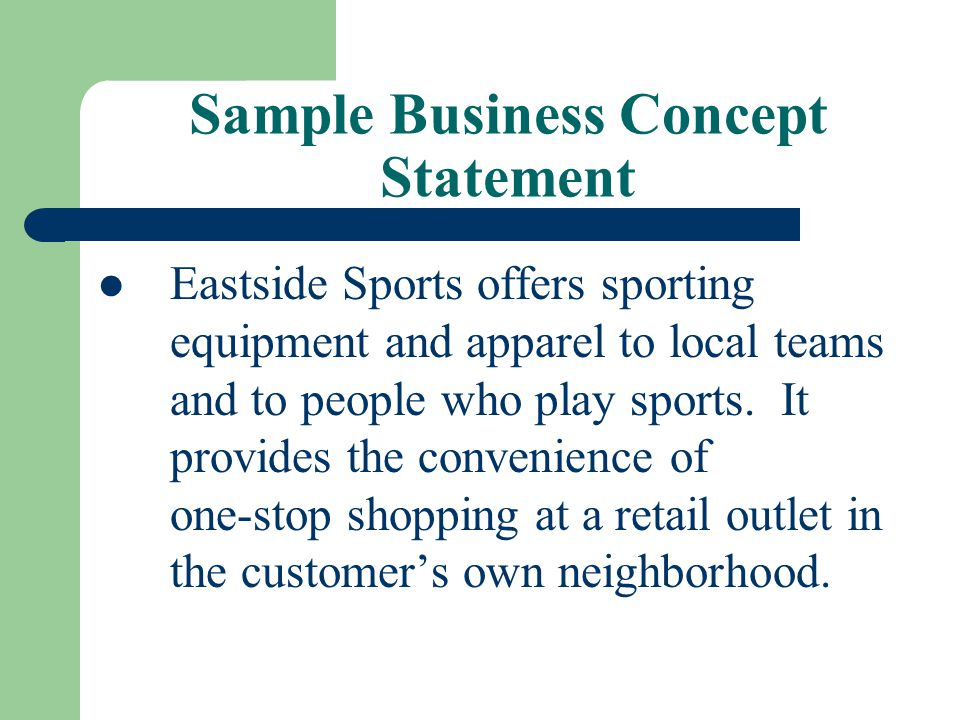 Sample Business Concept Statement