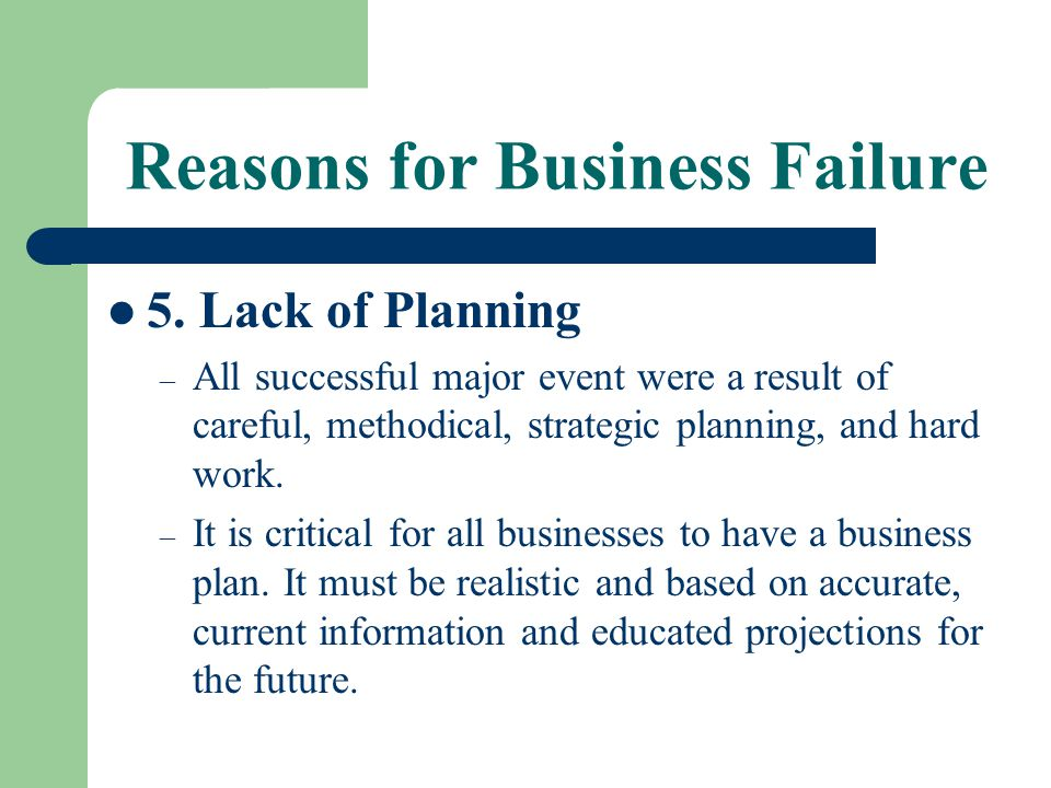 Reasons for Business Failure