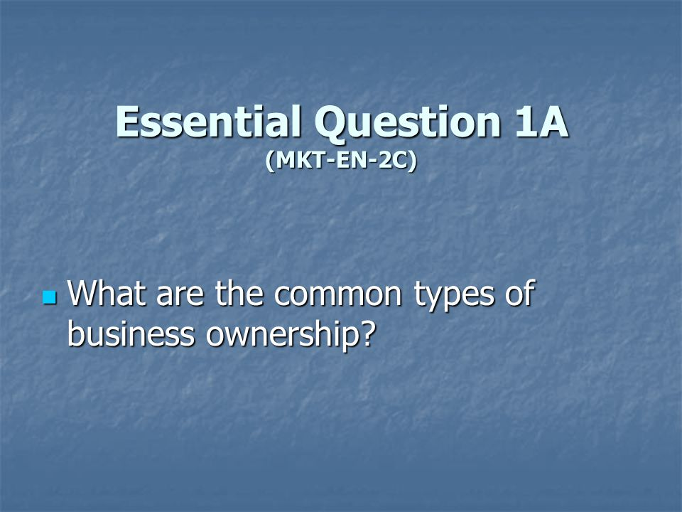 Essential Question 1A (MKT-EN-2C)