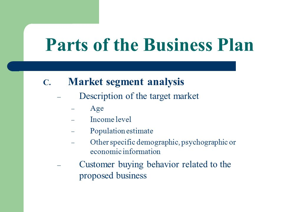 Parts of the Business Plan