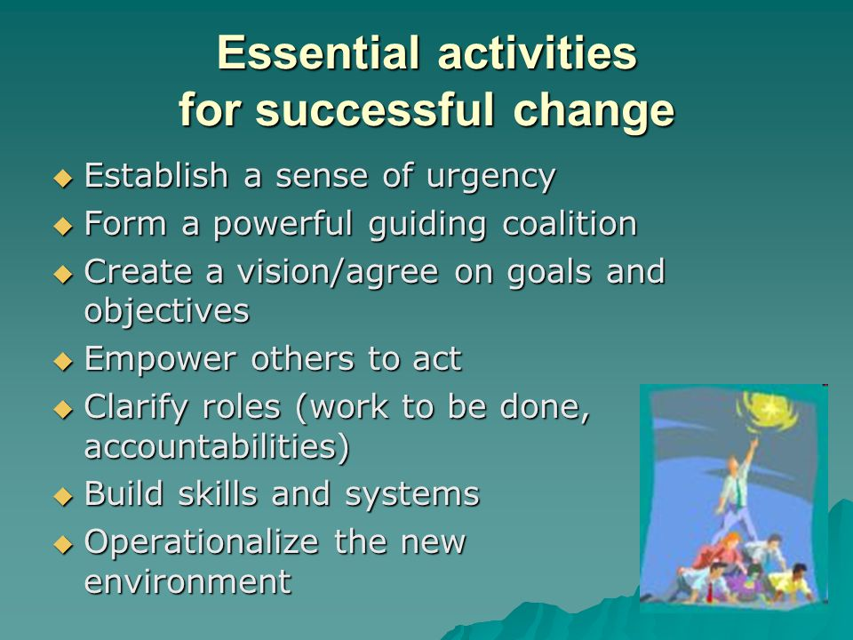 Essential activities for successful change