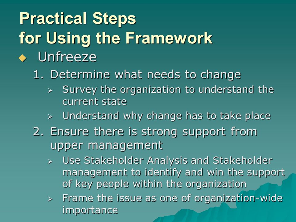Practical Steps for Using the Framework