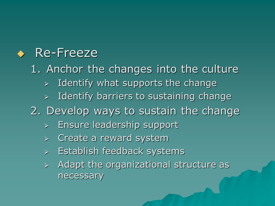 Re-Freeze Anchor the changes into the culture