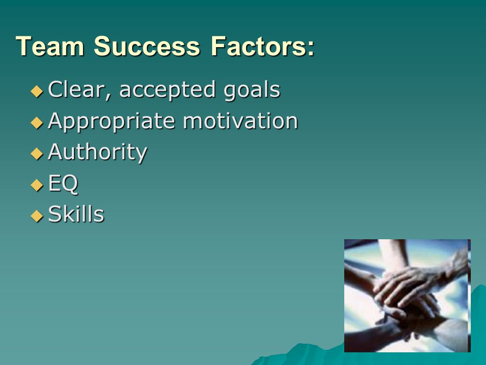 Team Success Factors: Clear, accepted goals Appropriate motivation
