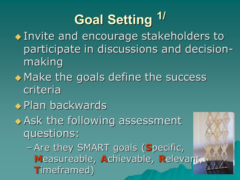 Goal Setting 1/ Invite and encourage stakeholders to participate in discussions and decision-making.