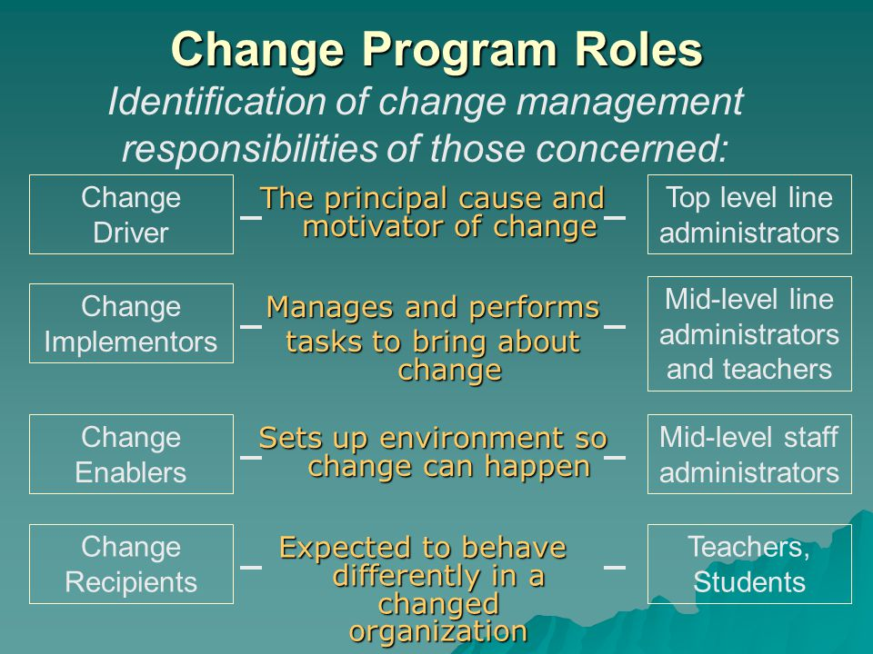 Change Program Roles Identification of change management responsibilities of those concerned: Change Driver.