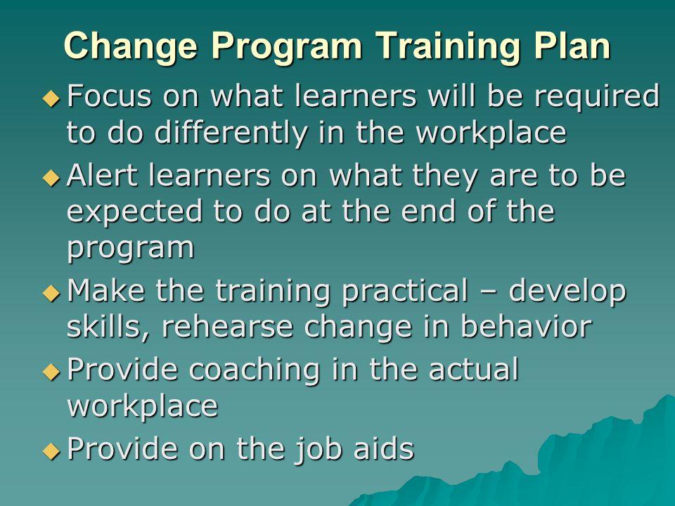 Change Program Training Plan