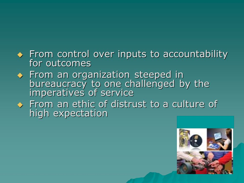 From control over inputs to accountability for outcomes