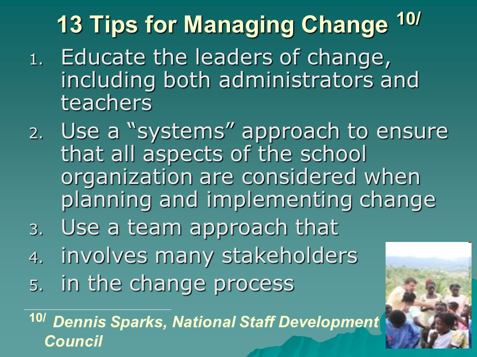 13 Tips for Managing Change 10/