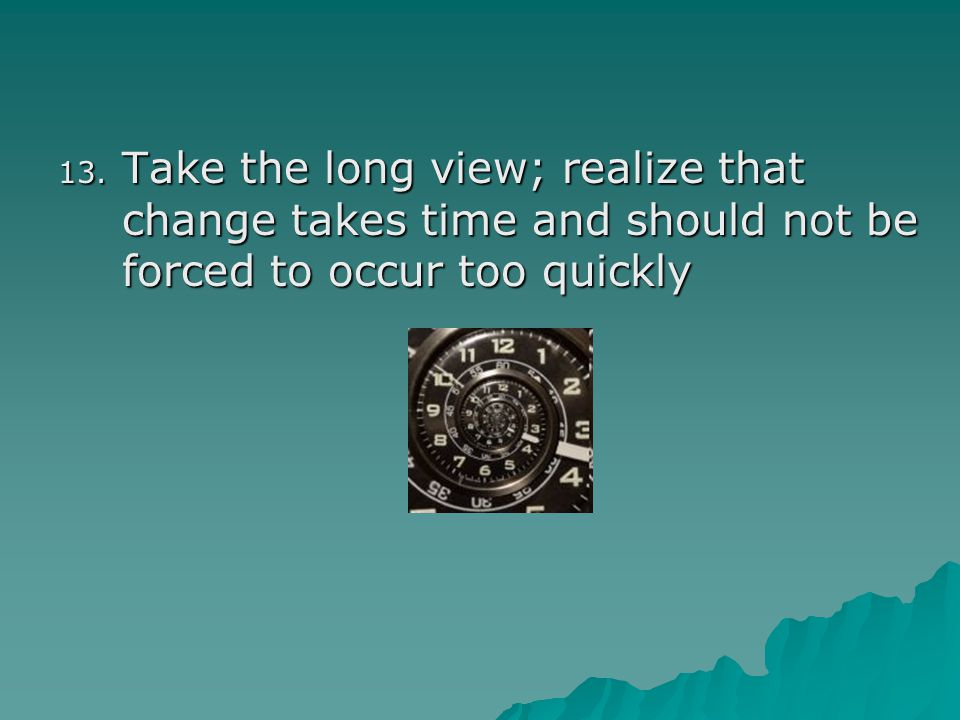 Take the long view; realize that change takes time and should not be forced to occur too quickly