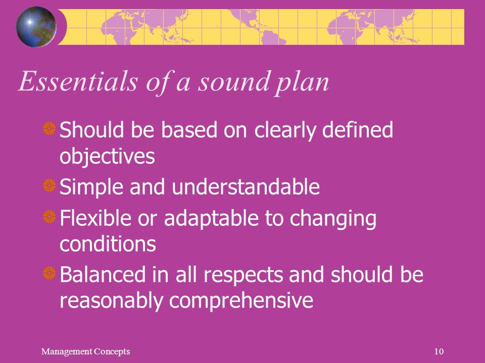 Essentials of a sound plan