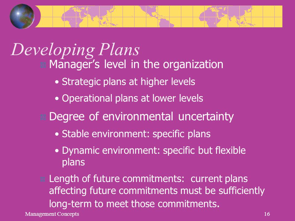 Developing Plans Manager's level in the organization