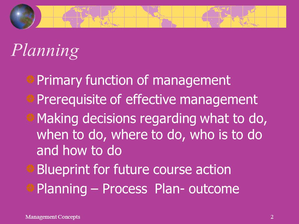 Planning Primary function of management