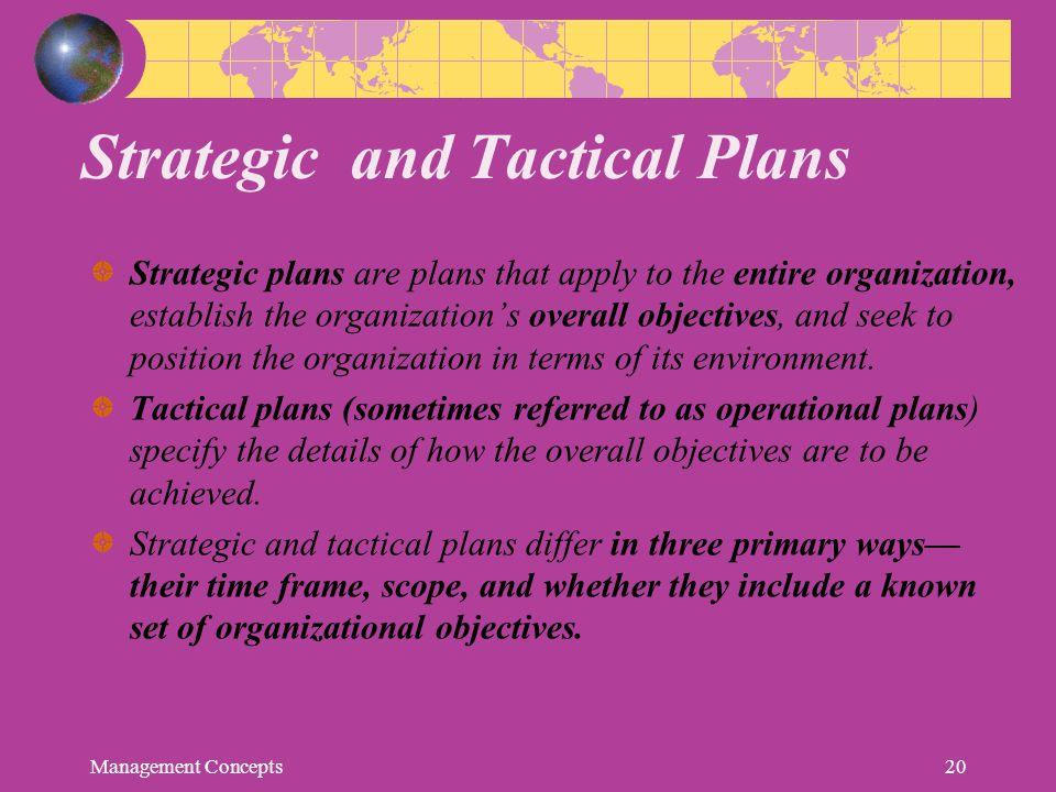 Strategic and Tactical Plans