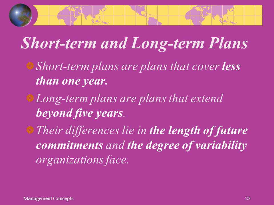 Short-term and Long-term Plans
