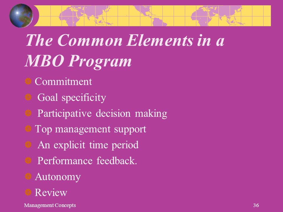 The Common Elements in a MBO Program