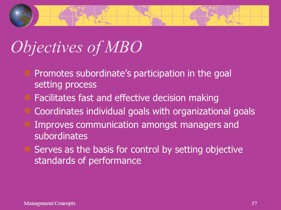 Objectives of MBO Promotes subordinate's participation in the goal setting process. Facilitates fast and effective decision making.