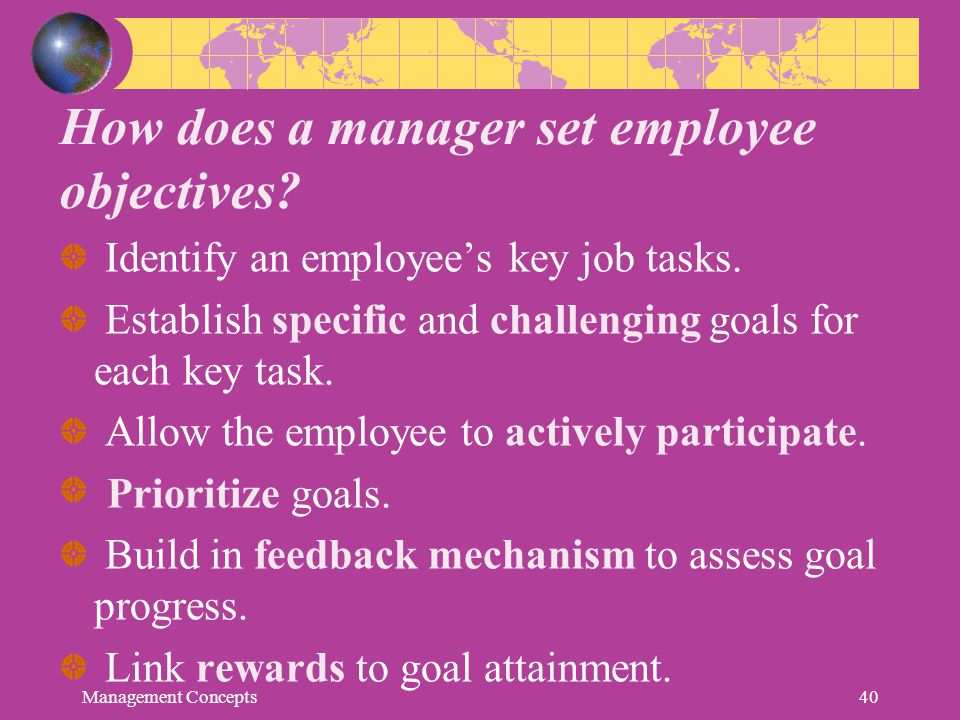 How does a manager set employee objectives