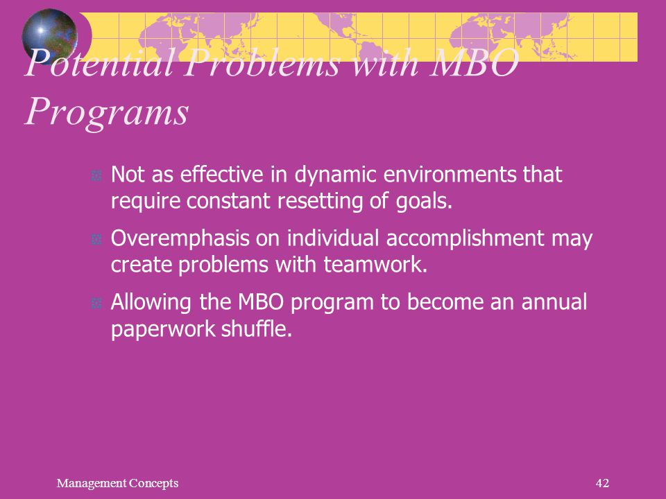 Potential Problems with MBO Programs