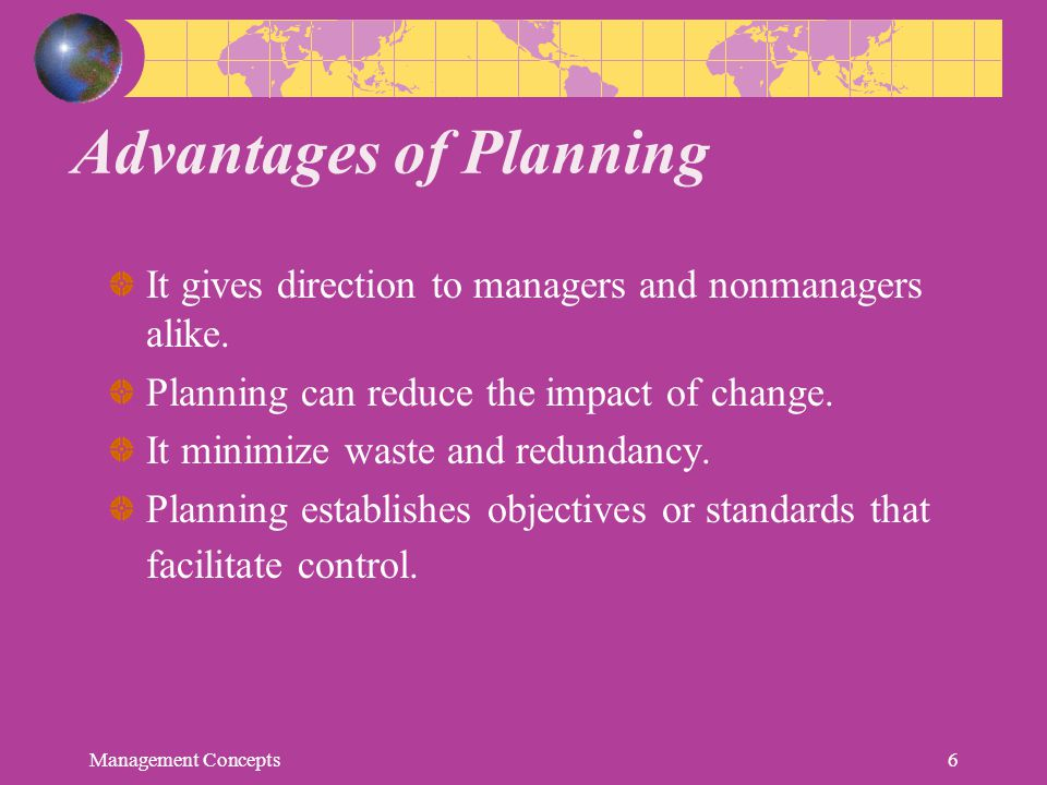 Advantages of Planning