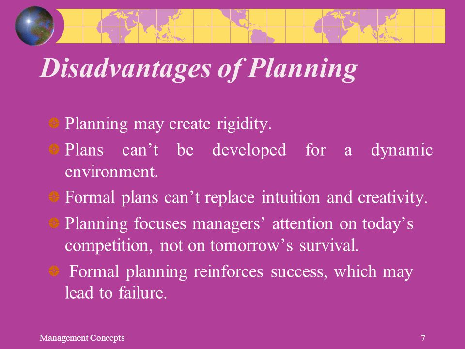 Disadvantages of Planning