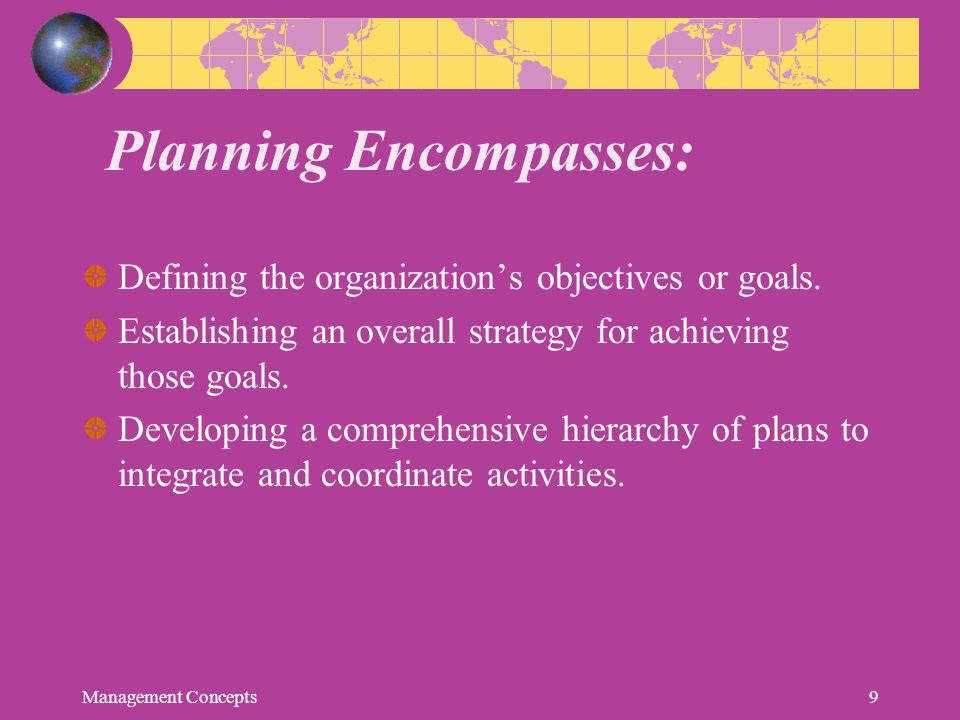 Planning Encompasses:
