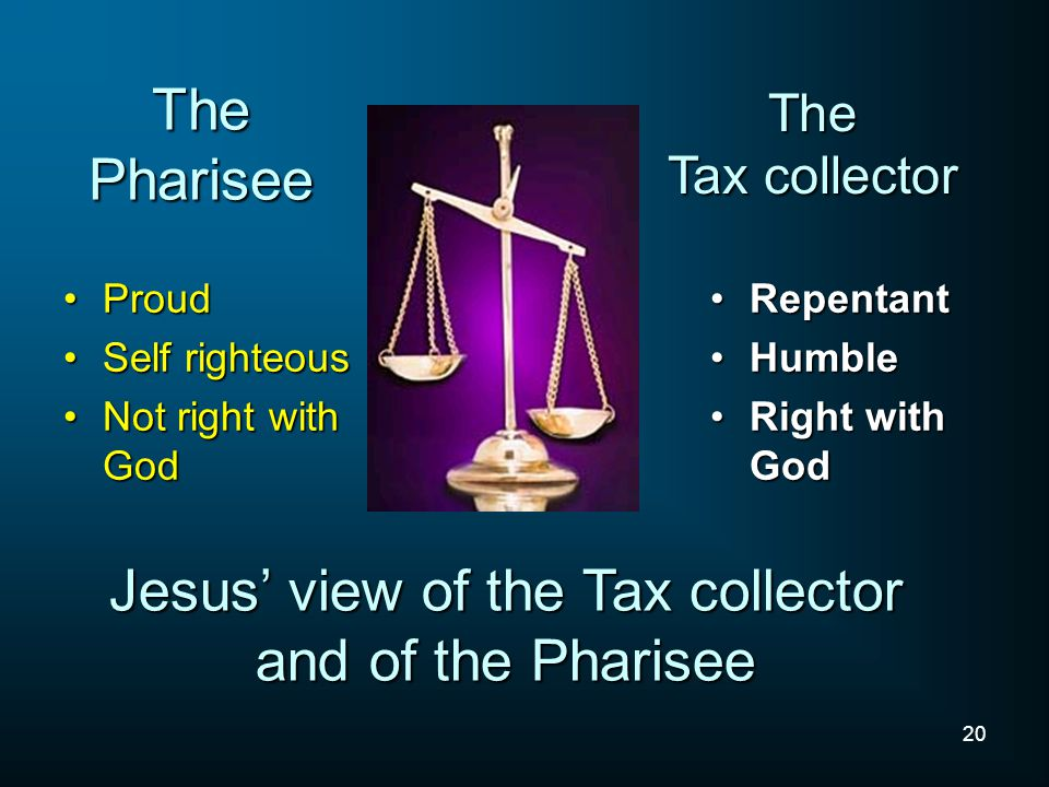 Jesus' view of the Tax collector and of the Pharisee