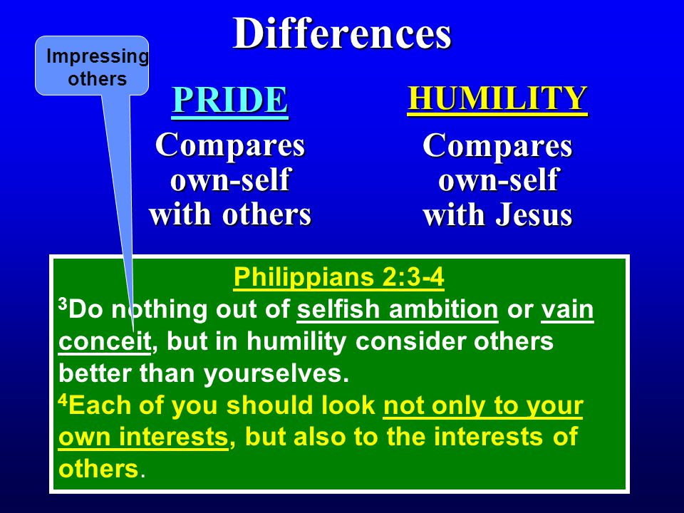 Differences PRIDE Compares own-self with others HUMILITY Compares