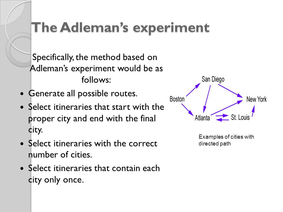 The Adleman's experiment