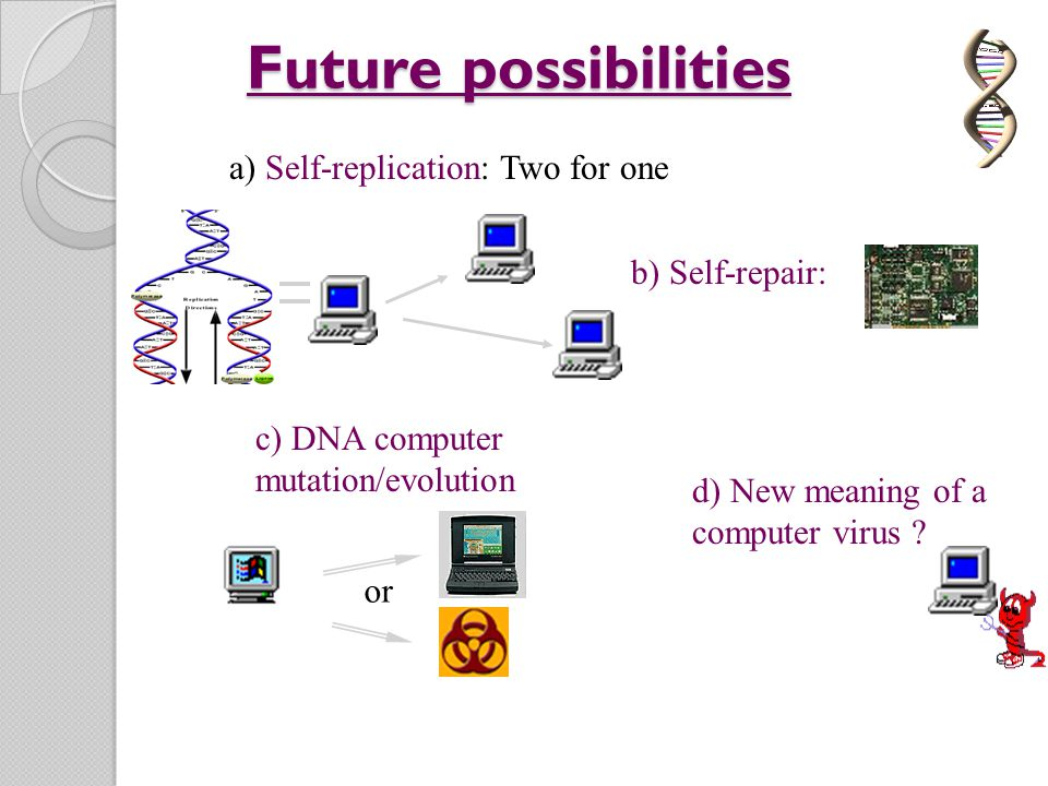 Future possibilities a) Self-replication: Two for one b) Self-repair:
